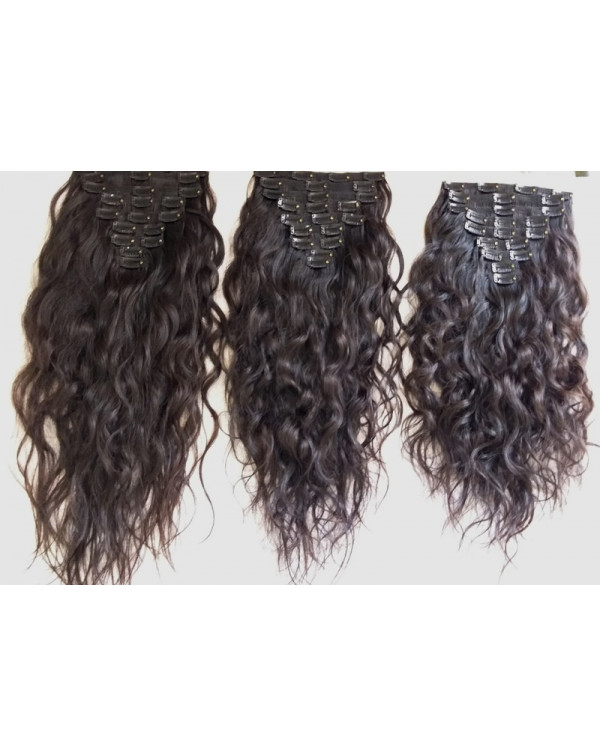 Unprocessed Curly Clip in Human Hair Extensions