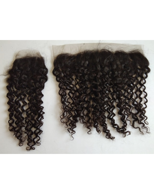STEAM CURLY HUMAN HAIR CLOSURE AND FRONTAL