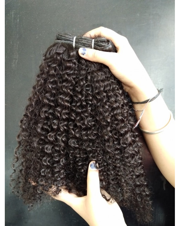 Steamed Kinky Curly Human Hair Extensions